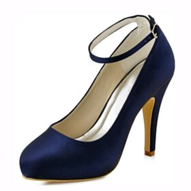 Élégant Bout Rond Escarpins Avec Bride Cheville 10 cm Talons Hauts Bleu Marine Talon Aiguille Chaussure Demoiselle D honneur