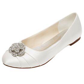 Marfil Zapatos Para Boda Planas Zapatos Con Tacon Strass Plisado Punta Redonda Elegantes