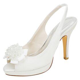 Brautschuhe Stilettos High Heels Mit Schleife Creme Satin Brautjungfer Schuhe Elegante Peeptoes Sandalen