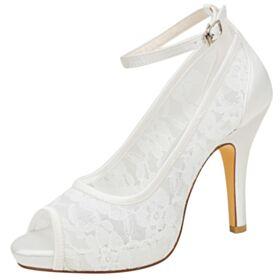 Runde Zeh Knöchelriemen Brautjungfer Schuhe Mit 10 cm High Heels Spitzen Brautschuhe Peeptoes Stilettos Satin Ivory