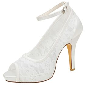 Sandals High Heel Ivory Peep Toe Lace Bridesmaid Shoes Round Toe