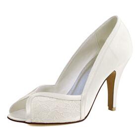 Peeptoes Brautschuhe Stilettos Creme Runde Zeh Brautjungfer Schuhe Elegante Tüll