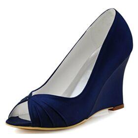 High Heels Peeptoes Plissee Keilabsatz Brautjungfer Schuhe Runde Zeh Satin Schönes Marineblau Brautschuhe