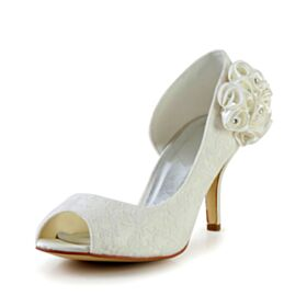 Lace Bridals Wedding Shoes Pumps Round Toe Elegant Peep Toe Appliques 3 inch High Heeled