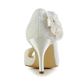 Stiletto Bruidsschoenen Applique Satijnen Pumps Ronde Neus Met Steentjes Kanten 8 cm High Heels Mooie Ivory