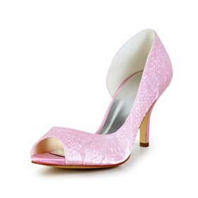 Peep Toe Hoge Hakken Roze Met Ruche Pumps Elegante Trouwschoenen Stiletto