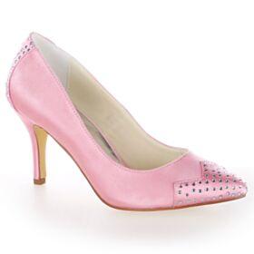Scarpe Sposa Decollete A Punta Con Strass Tacchi A Spillo Tacco Alto 8 cm Rosa Confetto