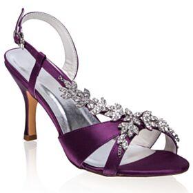 8 cm High Heels Rhinestones Satin Stiletto Bridal Shoes Round Toe Strappy Elegant Sandals