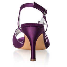 Elegantes Berenjena Satin Stilettos Punta Redonda Tiras Tacones Altos Sandalias Zapatos Para Boda