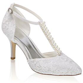 8 cm High Heels Mit Perle Elegante Stilettos Knöchelriemen Spitzen Satin Brautschuhe Pumps Spitz Zeh