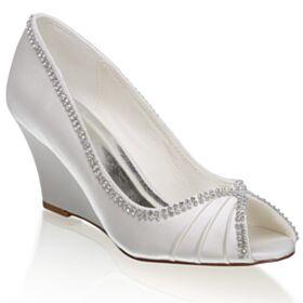 Plisada Zapatos De Novia De Satin Con Strass Marfil Sandalias Elegantes Cuña 7 cm Tacones