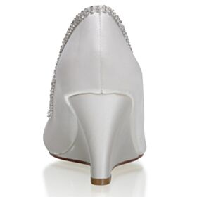 Élégant Compensées 7 cm Talon Mid Chaussure Demoiselle D honneur Bout Ouvert Chaussure De Mariée Bout Pointu Plissée Strass Ivoire