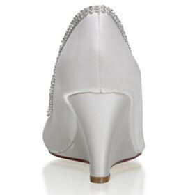 Hochzeitsschuhe Plissee Mit 7 cm Absatz Ivory Peeptoes Schönes Keilabsatz Brautjungfer Schuhe