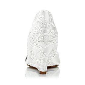 Ivoire Sandale Dentelle Bout Ouvert 7 cm Talon Mid Élégant Satin Avec Strass Bout Rond Chaussure Mariée Compensées