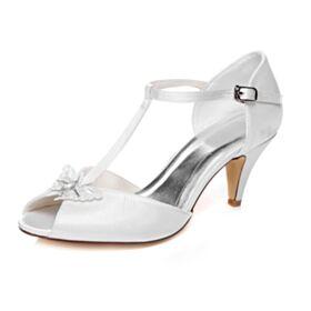 Avec Bride Cheville D orsay Bout Rond Belle 7 cm Talon Mid Peep Toes Talon Aiguille Chaussure Mariée Satin Sandale