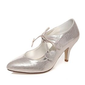 Glitter Wedding Shoes Bridesmaid Shoes Luxury Stiletto Mid Heels With Ankle Strap Elegant Pumps
