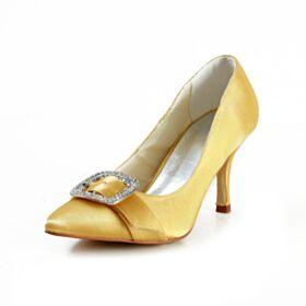Elegantes Zapatos De Novia Stilettos Amarillo Tacon Alto Zapatos