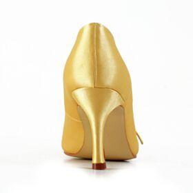 ハイヒール ピンヒール パンプス シューズ レディース イエロー 結婚式 靴 ヒール 3821180312F