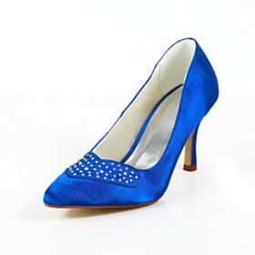Charming 8 cm High Heel Pumps Shoes Rhinestones Royal Blue Bridals Wedding Shoes Pointed Toe