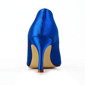 Escarpins Talon Haut Strass Élégant Bout Pointu Chaussure De Mariée Satin Bleu Electrique
