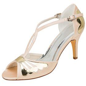 Bridesmaid Shoes Round Toe Sandals Satin 8 cm High Heels Elegant Bridals Wedding Shoes Stilettos Open Toe