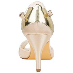 Elegante Peeptoes Satin Brautjungfer Schuhe Brautschuhe Riemchenpumps Mit 8 cm Absatz Sandaletten