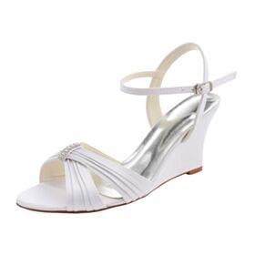 D ete 8 cm Talon Haut À Bride Chaussure Demoiselle D honneur Compensées Chaussure De Mariée Sandales Femme Satin Blanche