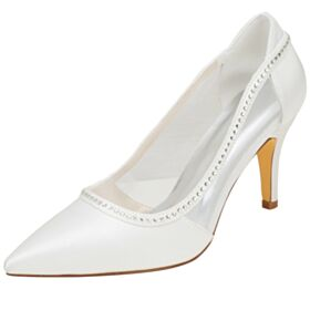 Ivory Stiletto Elegant Wedding Shoes Tulle Satin Bridesmaid Shoes Pumps With Rhinestones 3 inch High Heel