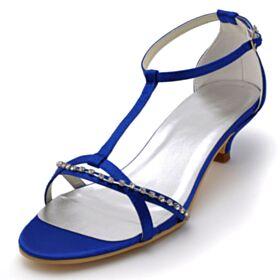 Chaussure Demoiselle D honneur Talons Aiguilles Petit Talon Sandale Élégant Bride Cheville Chaussure Mariée Bleu Electrique Avec Strass