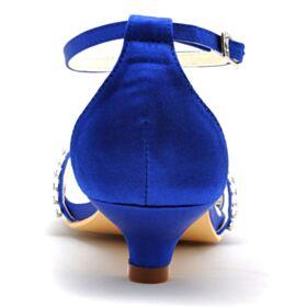 Cinturino Alla Caviglia Con Tacco A Spillo Sandali Blu Elettrico Raso Scarpe Sposa Con Tacco Basso