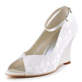 Brautschuhe Spitzen Elegante Keilabsatz Brautjungfer Schuhe Mit 8 cm High Heels Knöchelriemen Satin