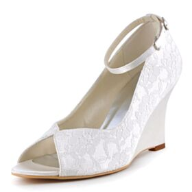 Womens Sandals Satin Bridal Shoes With Ankle Strap Wedges Summer Open Toe 3 inch High Heel Lace Bridesmaid Shoes
