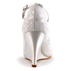 サンダル レディース 結婚式 靴 ハイヒール レース ウェッジ ソール アンクルストラップ アイボリー サテン ハイヒール ラウンド トゥ オープン トゥ 3921200312F