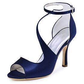 Talon Haut À Bride Élégant Avec Bride Cheville Talon Aiguille Nu Pied Chaussure Demoiselle D honneur Chaussure De Mariée Bleu Marine