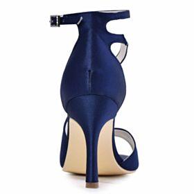 9 cm Hoge Hakken Sandalen Stiletto Enkelband Ronde Neus Navyblauwe Trouwschoenen Satijnen Peep Toe