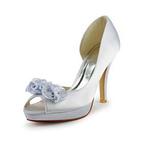 Peeptoes Weiß Brautschuhe Satin Elegante Mit 10 cm High Heels Absatzschuhe