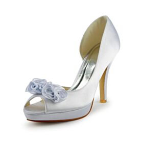 Stiletto Zapatos De Novia Zapatos Con Tacon Flor 3D Tacones Altos 10 cm Elegantes Blanco