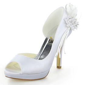 Satin 10 cm High Heel Bridal Shoes Pumps Open Toe Charming 3D Flower