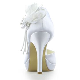 Mit Perle Satin Pumps Schönes Weiß Peeptoes Brautschuhe Mit 10 cm Absatz Stilettos