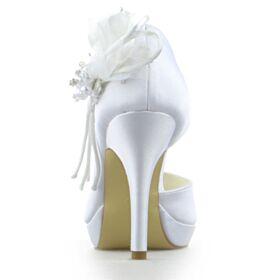 Tacco Alto Decollete Raso Eleganti Scarpe Da Sposa Spuntate Tacco A Spillo Estivi Con Perle Bianche