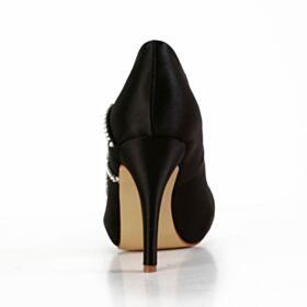 Stiletto Satin Elegant Round Toe Bridesmaid Shoes Black 10 cm High Heel Pumps