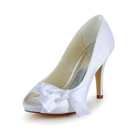 Bianchi Tacchi Spillo Classici Sandali Eleganti In Raso Scarpe Da Sposa 10 cm Tacco Alto