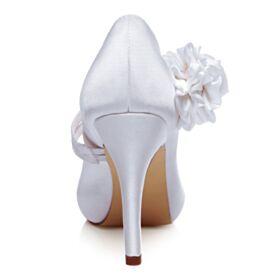 Appliques Belle Talons Aiguilles Talons Hauts Blanche Chaussure Mariée Satin Escarpins Femmes Avec Bride Cheville Bout Rond