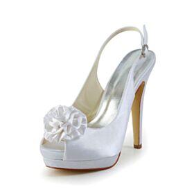 Spuntate Con Tacco A Spillo Tacco Alto 13 cm Scarpe Matrimonio Eleganti Sandali Bianchi In Raso