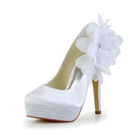Stiletto Round Toe White 13 cm High Heels Wedding Shoes Elegant Pumps Appliques