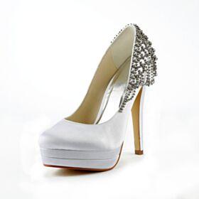 De Satin Blancos Elegantes Flecos Zapatos Tacon Alto 13 cm Zapatos De Novia Stilettos