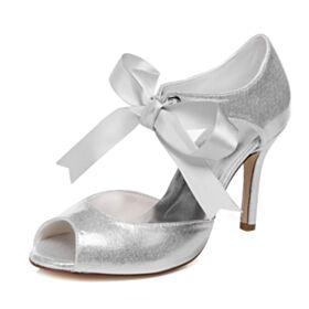 Glitter Tacco Alto Scarpe Sposa Tacco A Spillo Cinturino Alla Caviglia Spuntate Bianco Sandali