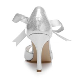 Round Toe Glitter 10 cm High Heels Sandals Ankle Strap Bowknot Bridal Shoes Stiletto Elegant Peep Toe
