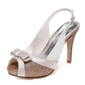 Sandales Femme Bout Ouvert Talon Aiguille Talon Haut Or Champagne Avec Noeud Bout Rond Chaussure De Mariée Glitter Élégant
