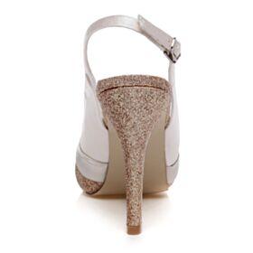 Con Fiocco Punta Tonda Tacchi A Spillo Champagne 10 cm Tacco Alto Scarpe Da Sposa Glitter Sandali